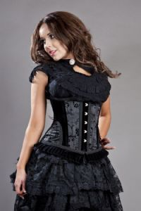 Petra Long Line Underbust Corset in Black Satin Flock